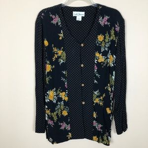 BLACK FLORAL DOT PRINT CROFT & BARROW LONG TUNIC